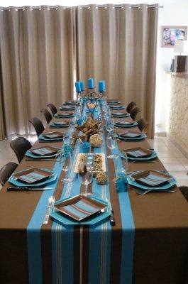 Decoration De Table Marron Et Bleu Turquoise ...