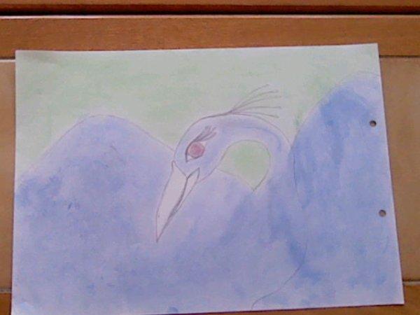un oiseau de bleu vêtu