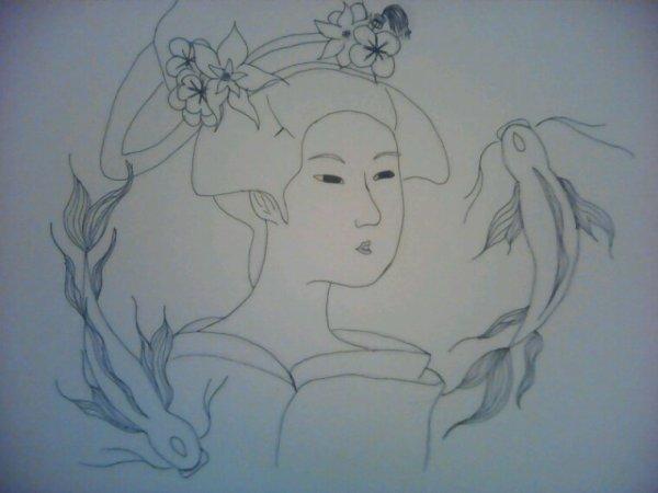 dessin Style tableau japonais ancien