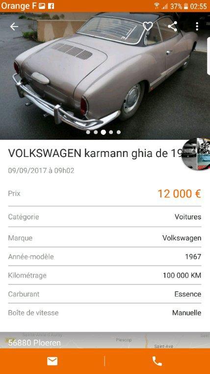 Karmann Ghia de 1967 a vendre sur le bon coin :) si j'avais l'argent, je m'aurais fait ce grand plaisir.