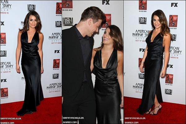 """.  13/10/2012 Miss Lea était a la premiere de """" American Horror Story """" en compagnie de Cory . C'est un TOP pour son make-up pas très fan de sa robe ! Monchele sont magnifiques ♥  ."""