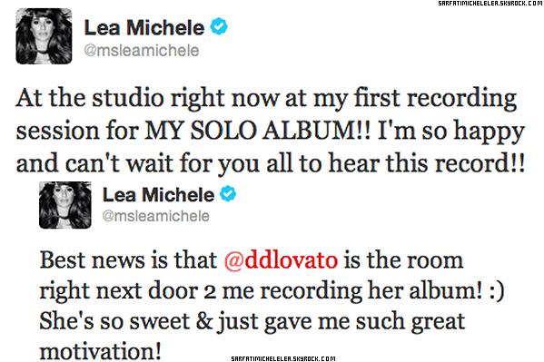 .  19/10/2012 C'est au téléphone que Lea arrive a un studio de LA pour enregistrer sont 1er album Solo ! .