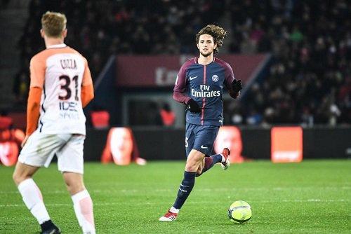 Saison 2017/2018 - Maillot Domicile porté en L1 par Adrien RABIOT le 27.01.2018 au Parc des Princes contre Montpellier HSC