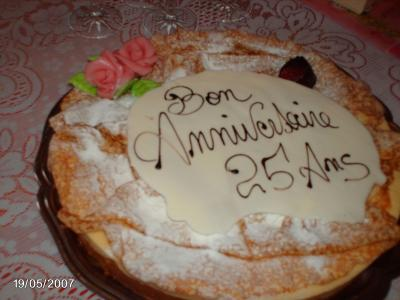 Gateau anniversaire 25 ans