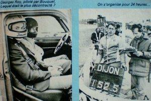 srt cormeilles * srt dijon * srt avallon * archives classement 1974 * stars racing team avec J.C Justice et J.Ragnotti * + challenge féminin