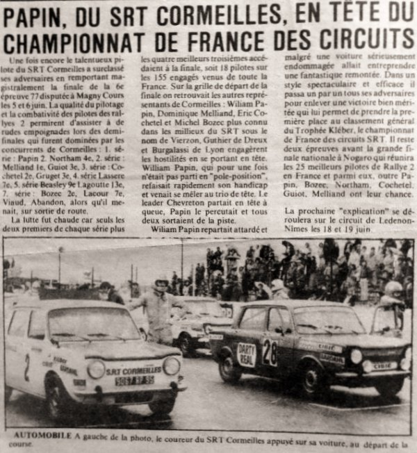 srt cormeilles * Williams Papin l'ancien Champion de France Trophée Kleber des Circuits 1977
