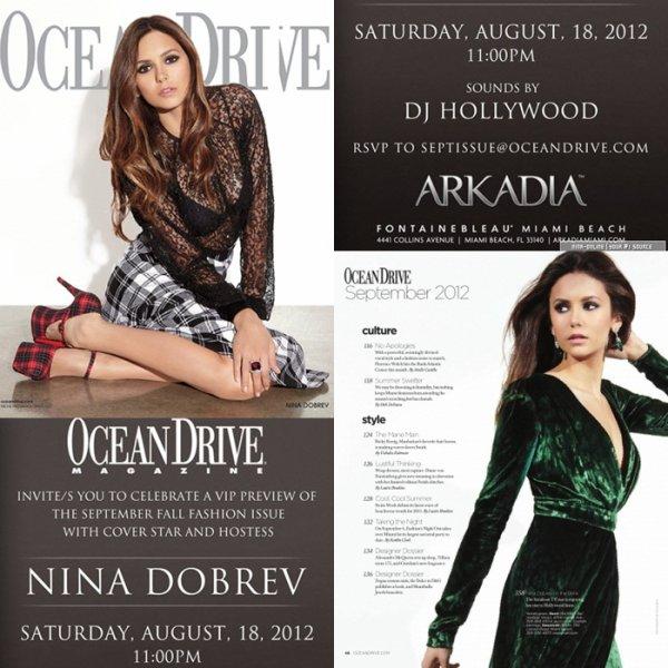 """16/08/2012: Nouveau photoshoot de Nina qui se retrouve en couverture du magazine """"Ocean Drive"""" pour le mois de septembre"""