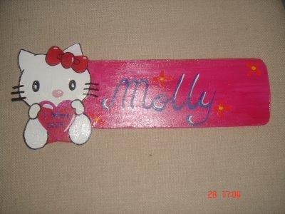 plaque de porte hello kitty+prenom