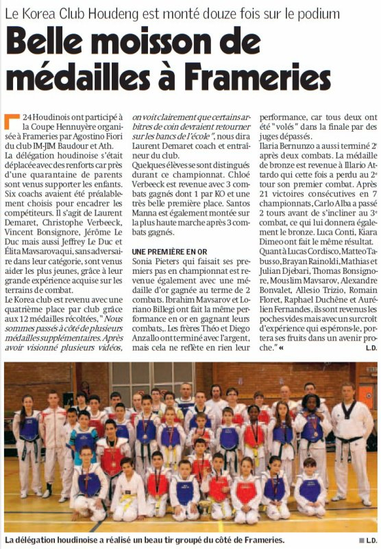 Article de presse Coupe Hennuyère