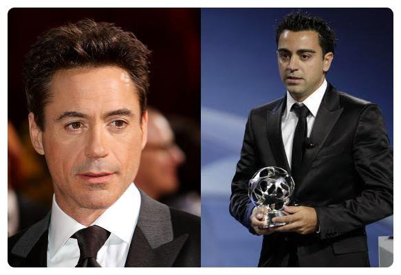 Robert Downey Jr (Acteur) &  Xavi Hernandez (Fc Barcelone