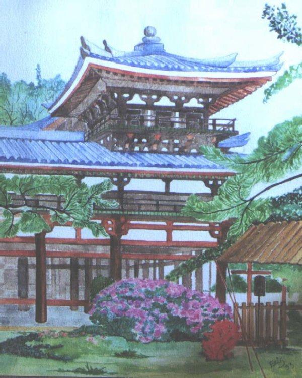 pagode toit bleu