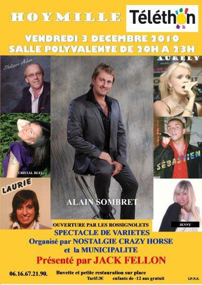 Téléthon 3 décembre 2010.....Venez Nombreux...trés grands plateaux d'artistes de votre régions.......