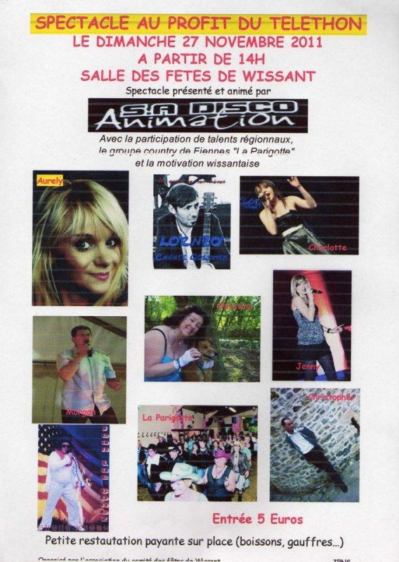 téléthon à Wissant Le 27 Novembre 2011....une playade D'Artistes De Notre Région...