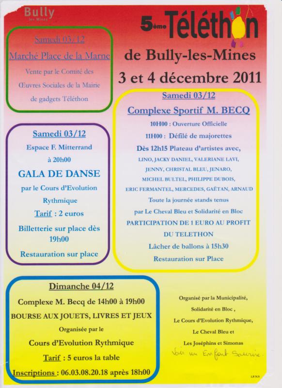 Téléthon à Bully Les Mines....Venez Nombreux.....le 3 et 4 décembre 2011...