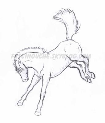 dessin cheval qui rue