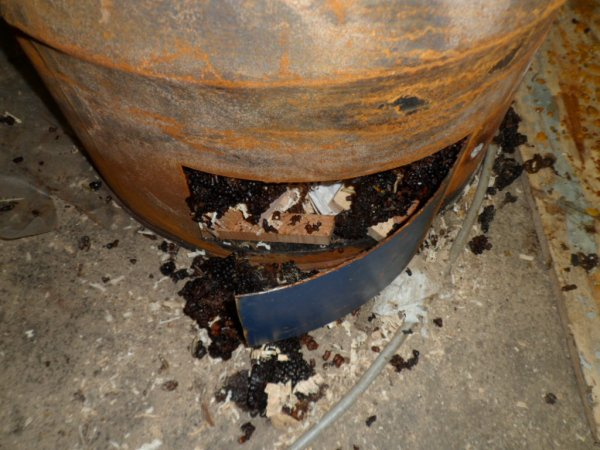 Fabrication d'un brûleur avec un bidon de miel pour brûler les déchets de cire après la fonte dans la chaudière