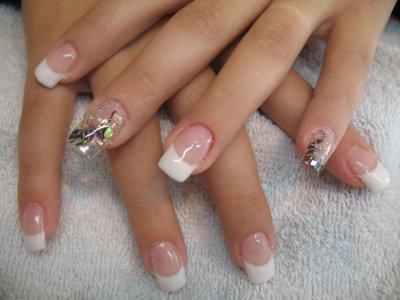 French blanche déco nail\u0027art sur 2 doigts