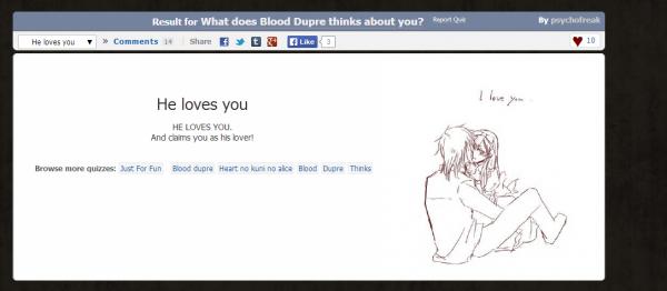 """Résultats du test : """"Qu'est-ce que Blood Dupré pense de toi ?"""""""