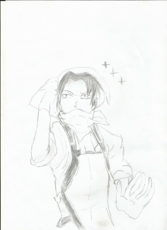 Dessin Levi en tenue de ménage (fait par moi)