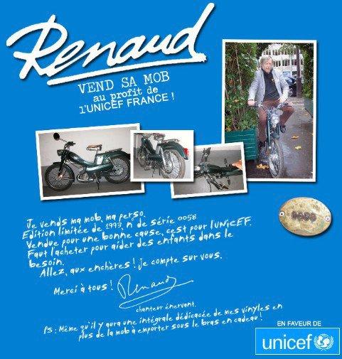Renaud à vendu sa mob au profil de L'UNICEF