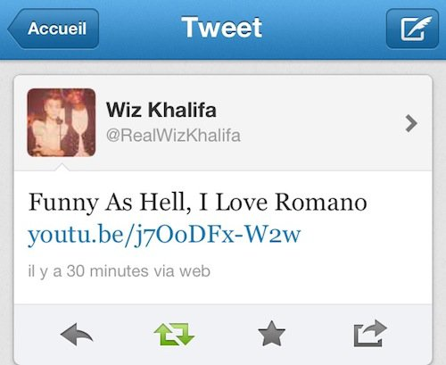 Le tweet de Wiz Khalifa pour Romano
