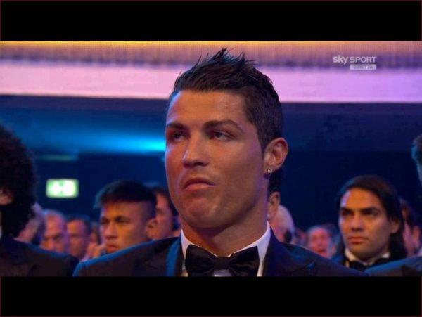 La tête de Cristiano Ronaldo lors de l'annonce des résultats