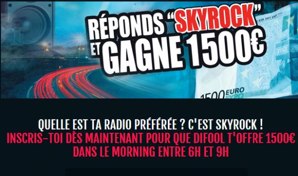 Tu veux gagner 1500e dans le #MorningDeDifool ! Ne manquez rien demain matin de 6h à 9h sur skyrock ! :D