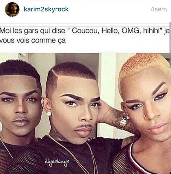 """Les gars qui disent """" coucou, hello, hihi"""" Karim vous vois comme ça mdrrr"""