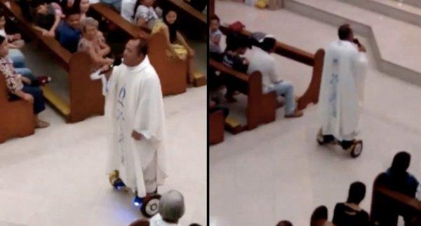 VIDEO - un prêtre suspendu pour avoir célébré la messe sur un hoverboard !