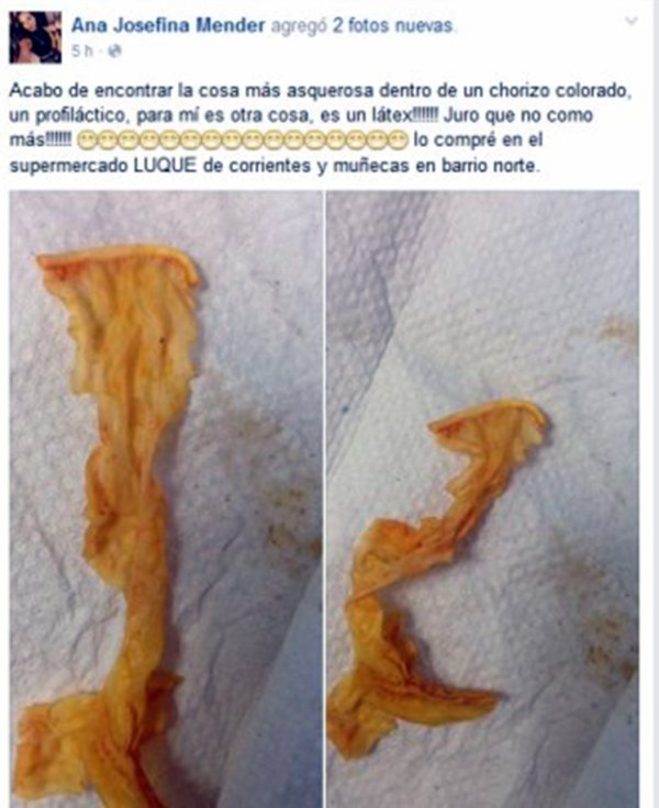 PHOTOS - Elle trouve un préservatif à l'intérieur d'un chorizo de supermarché !