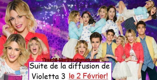 Le 2 Février la suite de la diffusion de Violetta 3+ Violetta 3-Premières minutes : épisode 41!