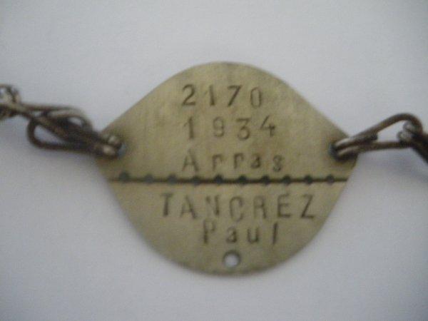 Plaque d'identité militaire Francaise WW2