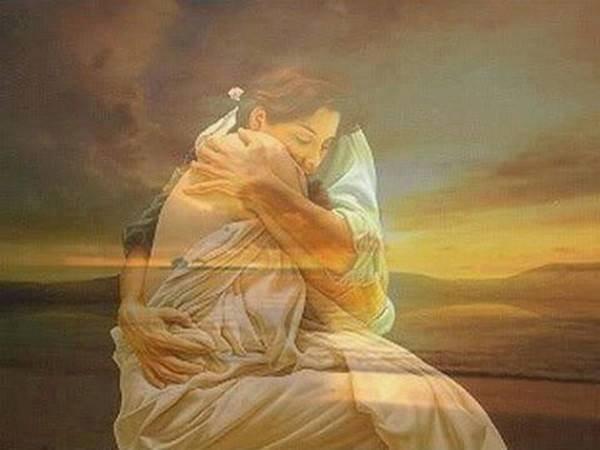 Sans force pour mentir, je me suis mise dans ses bras, et je fermais les yeux, pour qu'il ne vit pas, que c'était mon âme, que je lui donnais.