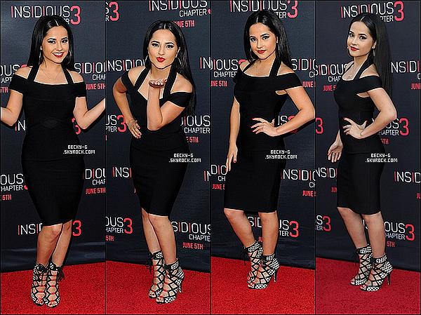 04 / 06 / 15 :NotreBeckysi sublime a étéà l'avant première deInsidious Chapter 3 à LA. Becky a été vêtue d'une robe noir assez sexy très sublime ce qu'elle porte.. j'adore cela va bien avec sa nouvelle teinture de cheveux.