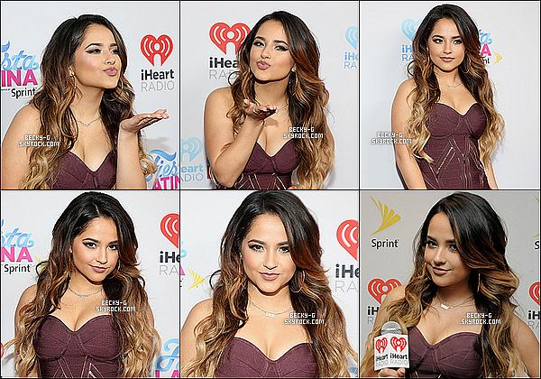 """07 / 11 / 15 :Beckya été à la cérémonie de """"HeartRadio Fiesta Latina"""" ou elle a performer. Beckya perfoméeubblicious , Move It , Can't Stop Dancin' & Shower. Elle a été sublime avec sa robe & sa coiffure TOP je dis !"""