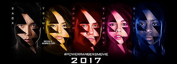 L'affiche officiel du film Power Rangersou Becky (Trian) y jouera dedans a étédévoilé. Une affiche pour chaque personnages du film avec la couleur de leur combinaison. Je les trouve très réussi & créative donc un TOP !
