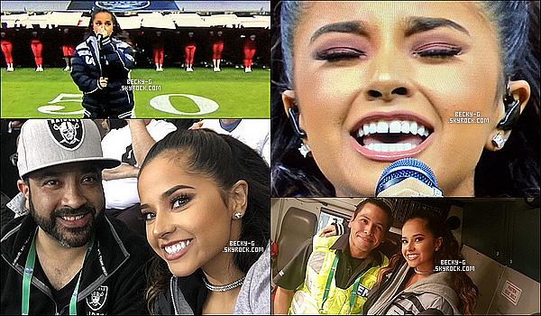 21 / 11 / 16 :Becky a été au stade de football au Mexique pour chanter l'hymne national USA. Beckya été dans son pays d'origine pour chanter la hymne national américaine pour un match de foot des Etats uni avec le Mexique.