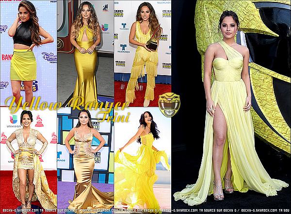 ARTICLE DIVERS : Les tenues yellow de notre Becky lors des événements des tapis rouge. Récapitulatif des tenus yellow de notre belle Becky qui incarne le ranger yellow, Trini. Elle est donc dans le thème du jaune et j'adore !