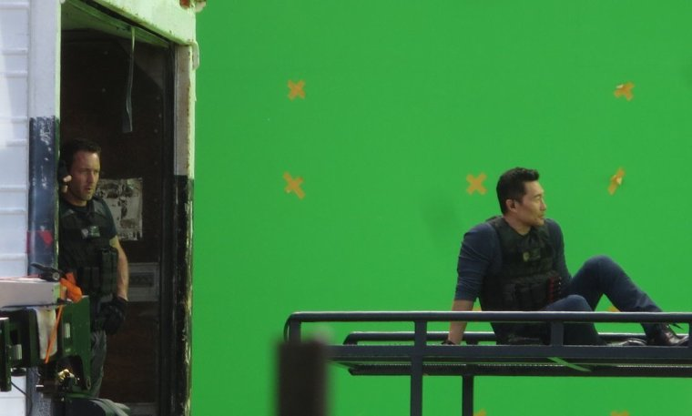 Le cast sur le set de la saison 7 le 22.03.2017