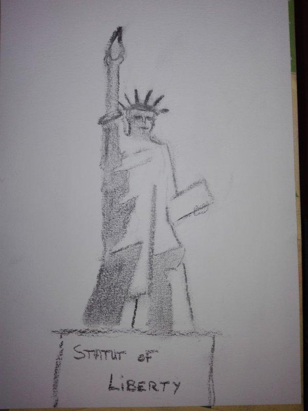 statut de la liberté ( fusain )