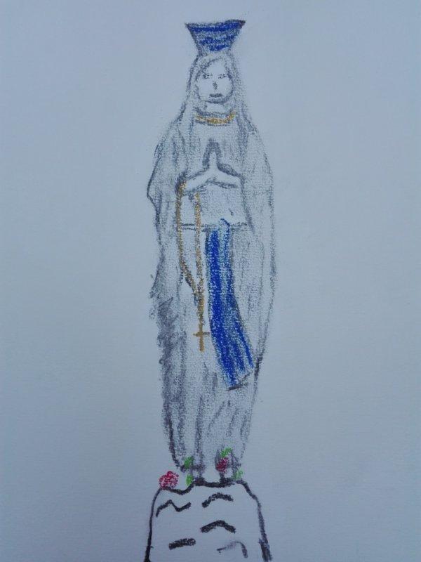 sainte vierge  , eau bénite ( fusain et pastels )