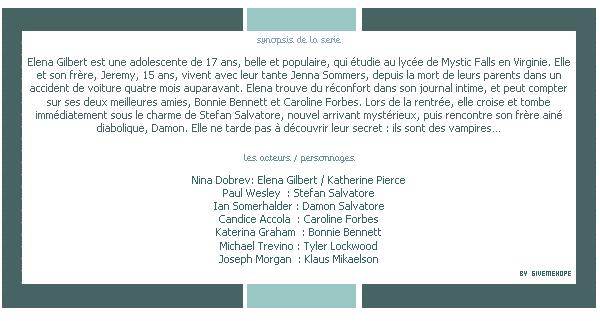 "➜ GIVEME HOPE  ~ Blog bazar ~ ___Article #004__ Serie ""The Vampire Diaries"" -Création- | -Décoration - | -Texte-"