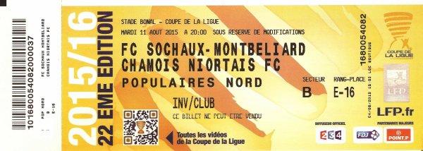 Maillot porté Sochaux / Niort au 1er tour de la coupe de la ligue