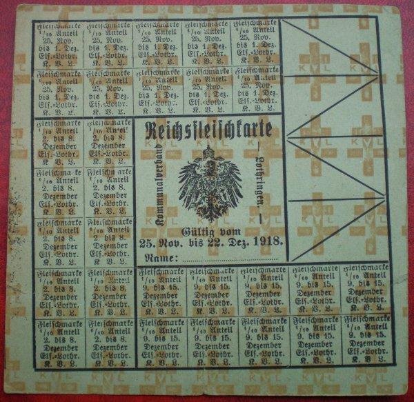 CARTE RATIONNEMENT ALLEMANDE 1918.