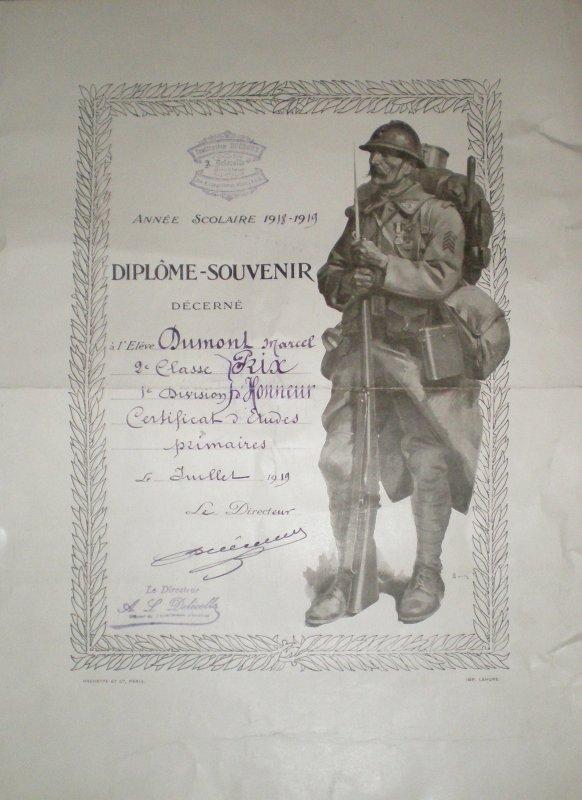 RENTREE CERTIFICAT ETUDES PRIMAIRES 1918/1919.