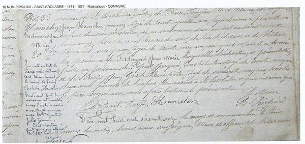 RENTREE DOCUMENT 1915 MORT POUR LA PATRIE.
