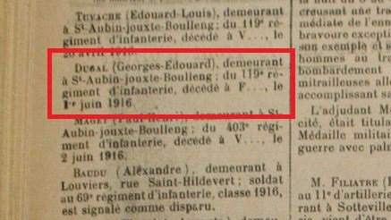 DUGAL EDOUARD (GRAND-ONCLE) JOURNAL L'ELBEUVIEN 1916.