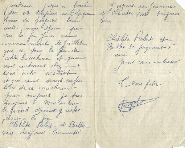 LETTRE 1916 DUGAL GEORGES EMILE (GRAND-ONCLE)