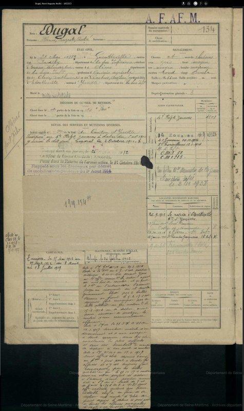 DUGAL HENRI AUGUSTE ANDRE WW1 (COUSIN)