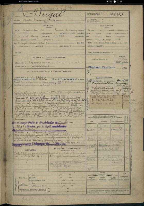 DUGAL CHARLES FRANCOIS WW1 (COUSIN).